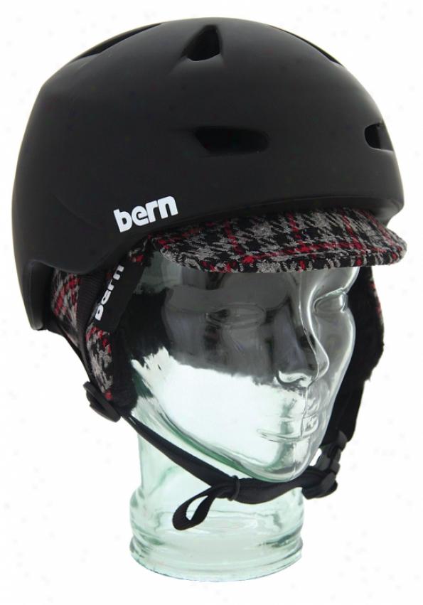 Bern Brentwoox Snowboard Helmet Matte Black/plaid Visor Knit
