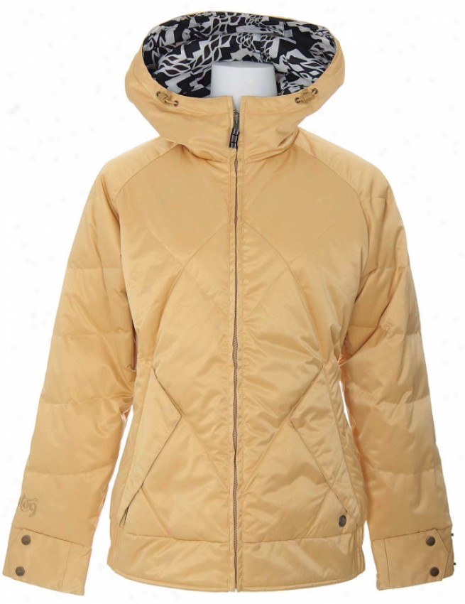 Burton Bliss Down Reversible Snowboard Jacket Gold Black Labrynth