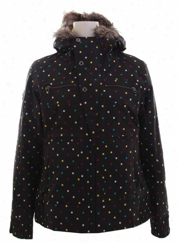 Burton Lush Snowboard Jacket Black Polka Squares