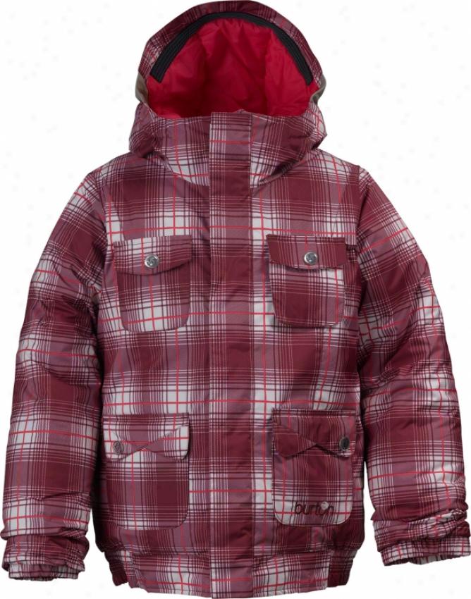 Burton Twist Bomber Snowboard Jacket Bright White Blur Plaid Print