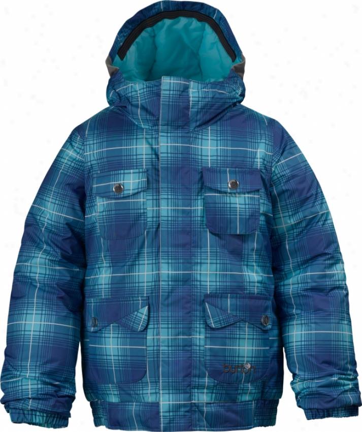 Burton Twist Bomber Snowboard Jacket Robins Egg Blur Plaid Print