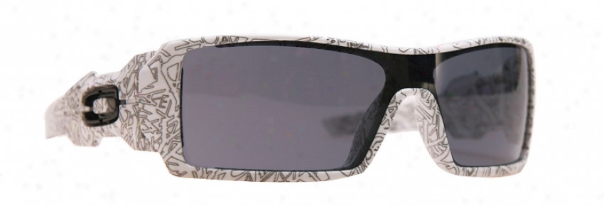 Oakley Oil Rig Sunglasses White Text/grey Lens