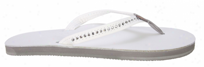 Rainbow Premier Leather W/ S Crystals Sandalw White
