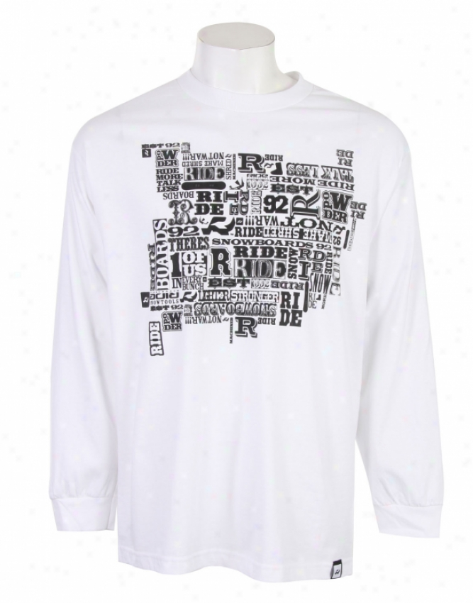 Ride R Logo L/s Shirt White