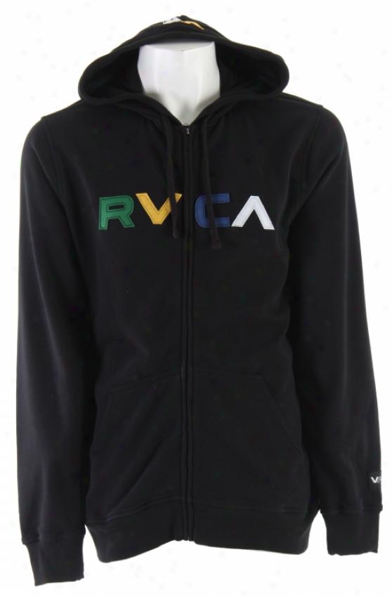 Rvca Logo Zip Hoodie Murky