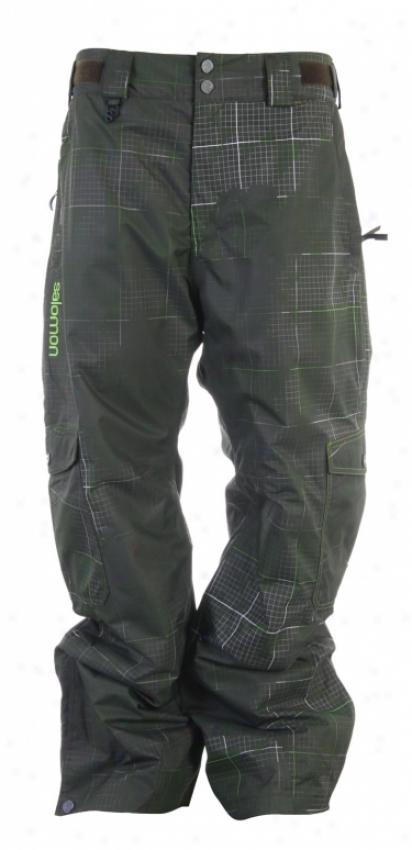 Salomon Gangster Snowboard Pants Dark Swamp-x/wht/neo Grn