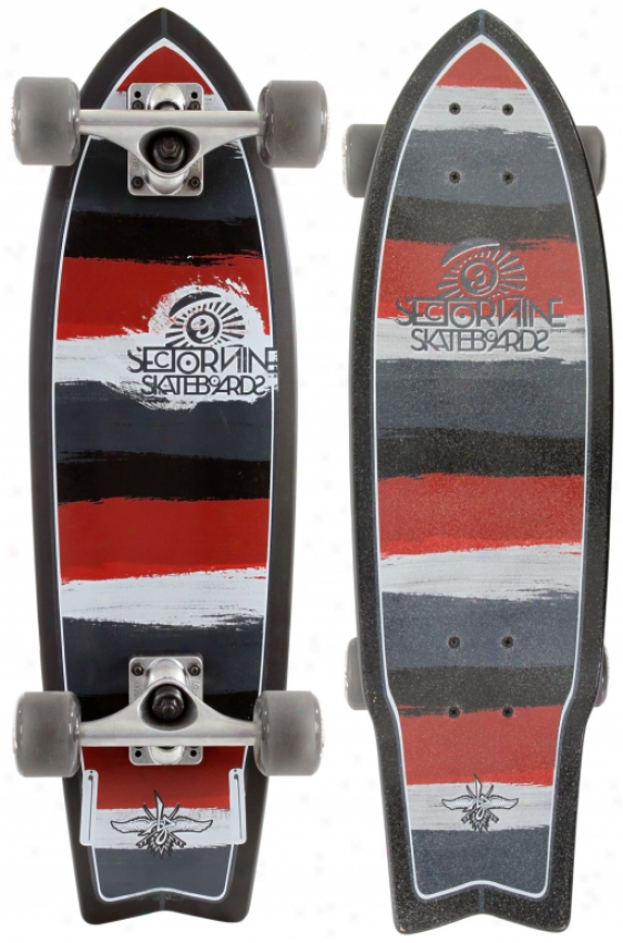 Sector 9 Twin 28 Mini Longboard Skateboard Total Black/red