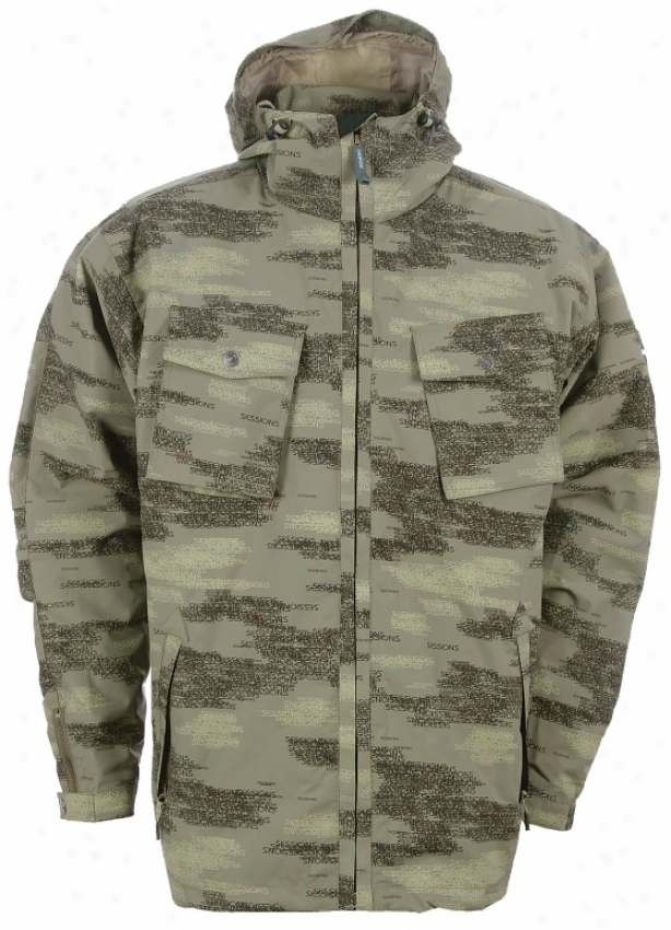 Sessions Gomer Pile Snowboard Jacket Green Camo