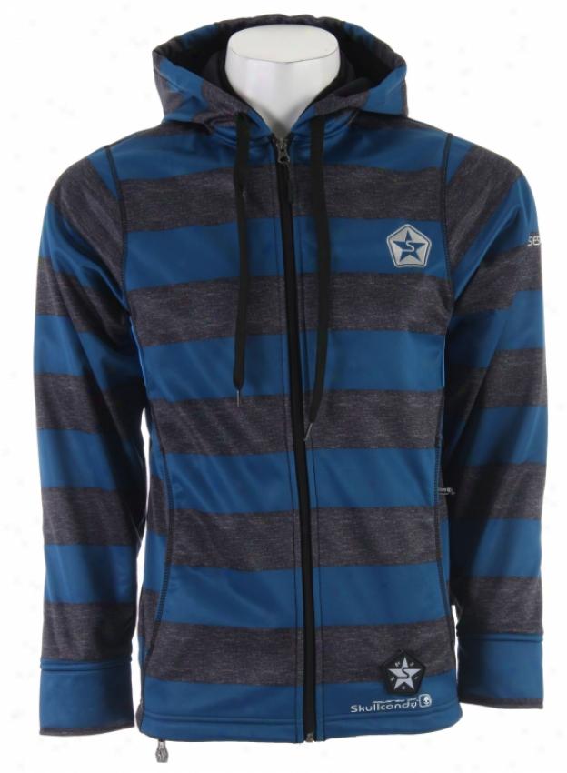 Sessions Kreuger Stripe Skullcandy Softshell Snowboard Jacket Blue Heather Wale