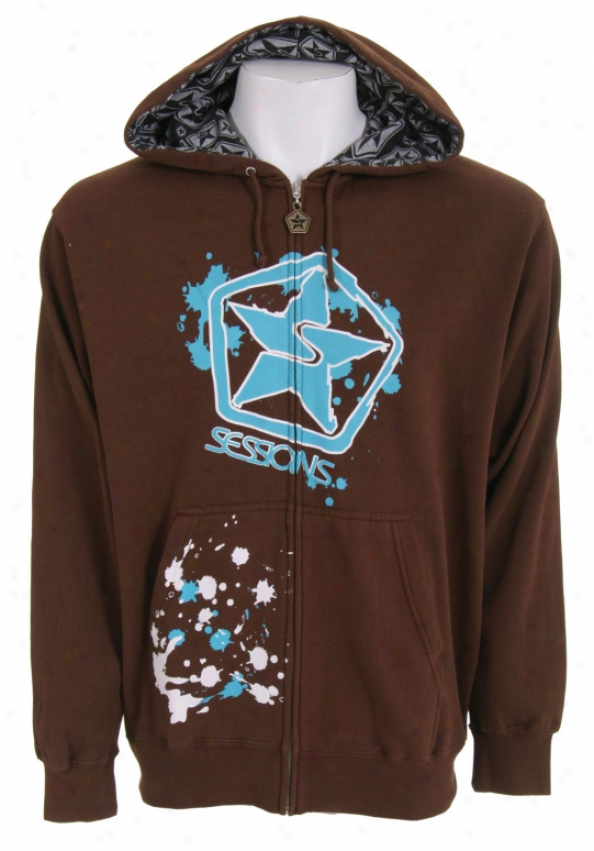 Sessions Stressed Zip Hoodie Dk Brown