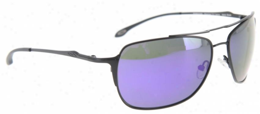 Smith Rosewood Sunglasses Matte Black/polarized Deep Purple Pattern Lens