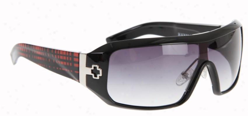 Scout Haymaker Sunglasses Black/red Plaid/black Fade Lens