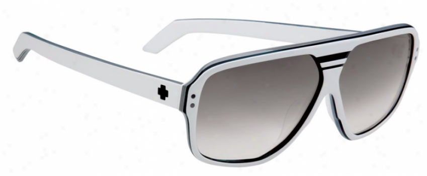 Spy Hiball Sunglasses White W/ Black Stripes/black Fade Lens