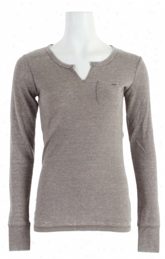 Volcom Rock Only Split Neck Thermal Loose Brown Heather