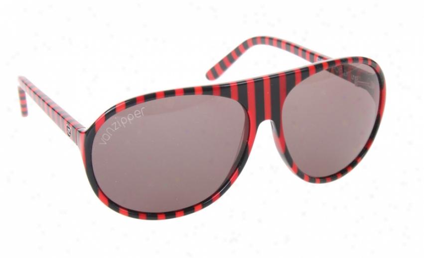 Vonzipper Rockford Sunglasses Red Black Jwil Stripe Lens