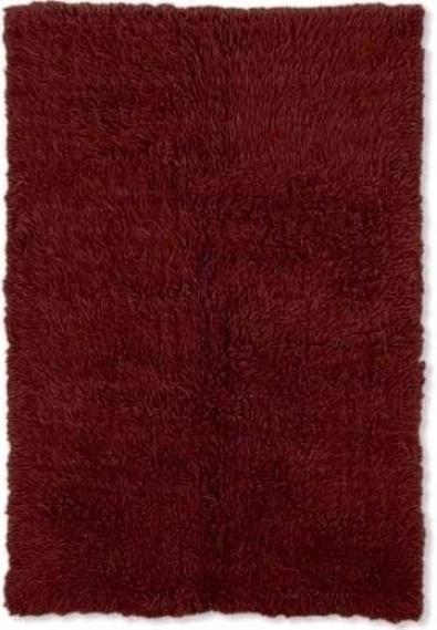 10' X 14' Flokati Area Rug - 100% Wool Burgundy Color