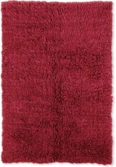 10' X 14' Flokati Area Rug - 100% Wool Red Color