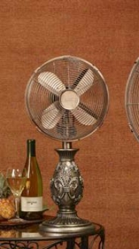 10&quot Deco Buffet Fan With Floral Resin In Bronze Finish
