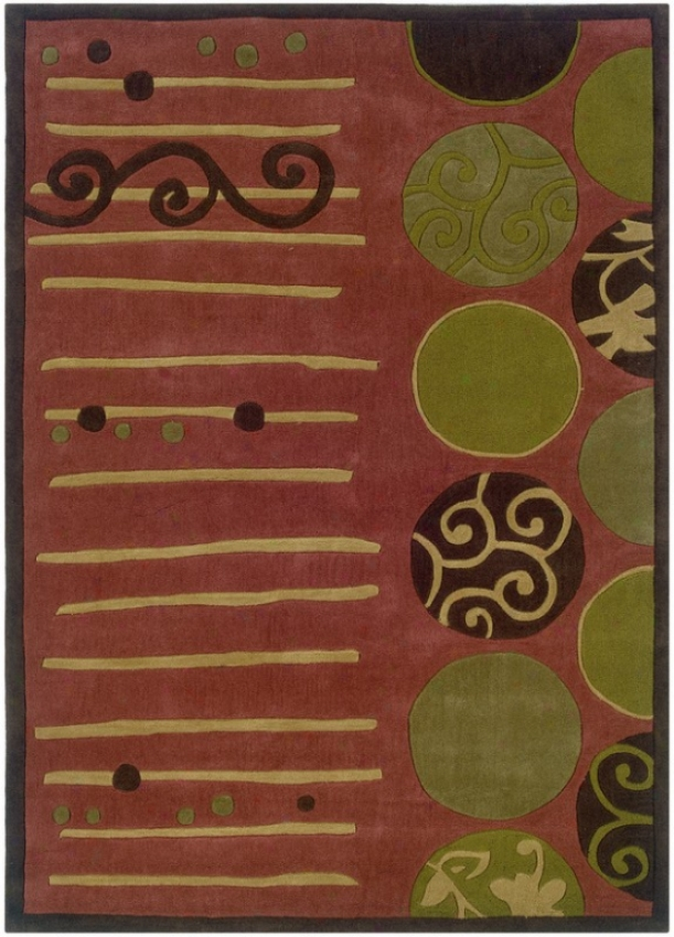 1'10&quot X 2'10&quot Area Rug Circles And Lines Pattern In Terra Cotta