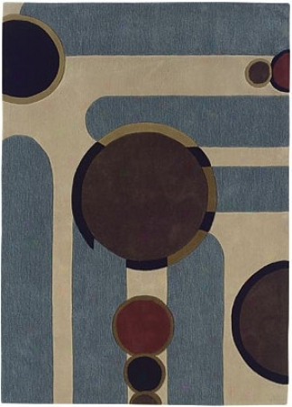 1'10&quot X 2'10&quot Area Rug Circles Pattsrn In Beige And Blue