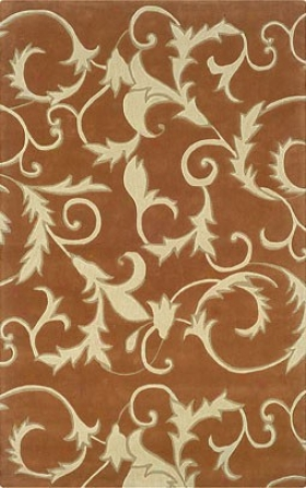 1'10&quot X 2'10&quot Area Rug Scroll Pattern In Pumpkin And Ivoey