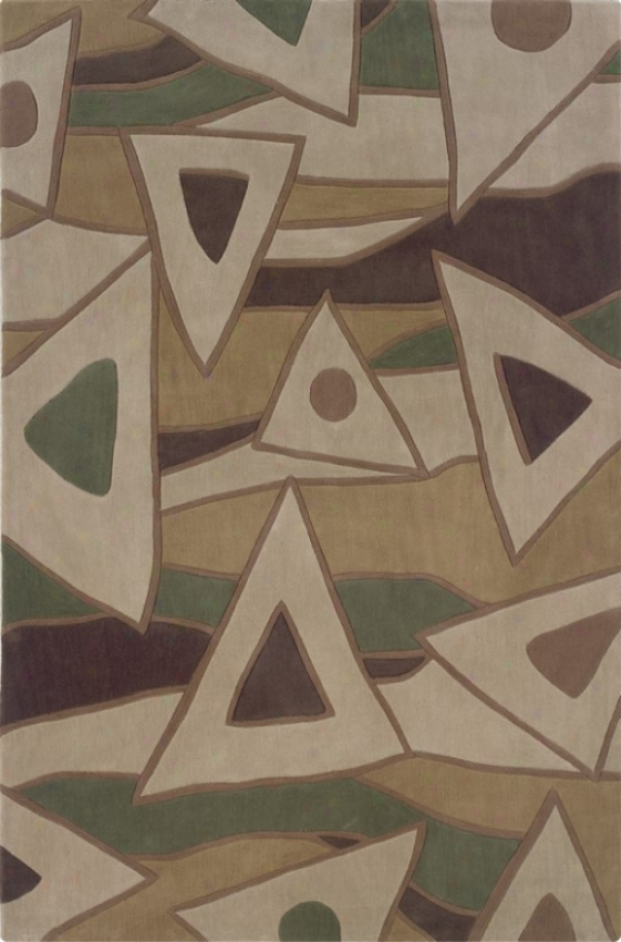 1'10&quot X 2'10&quot Area Rug Triangle Pattern In Beige And Green