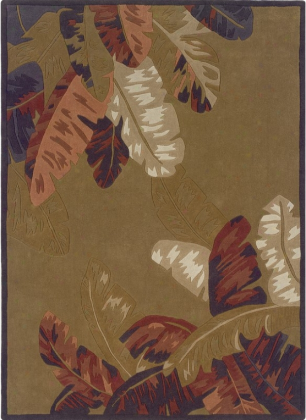 1'10&quot X 2'10&quot Area Rug Tropical Leaves In Camel And Btick
