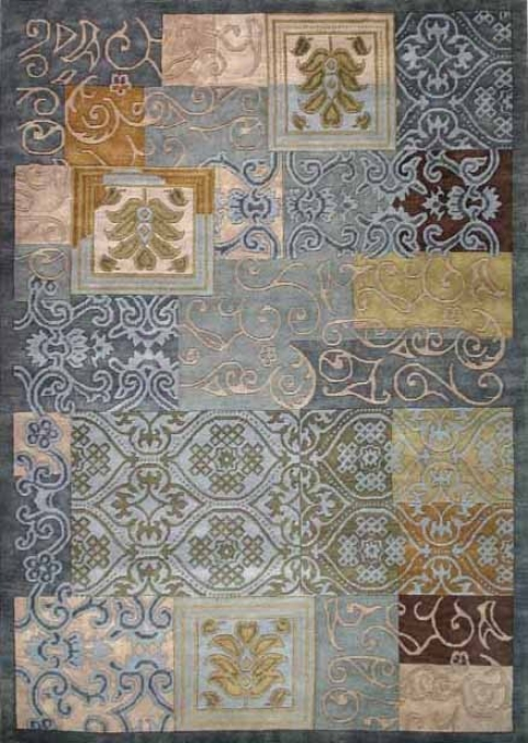 1'10&quot X 2'10&quot Hand-knotted Wool Rug Mediteranean Design Blue And Sage Color