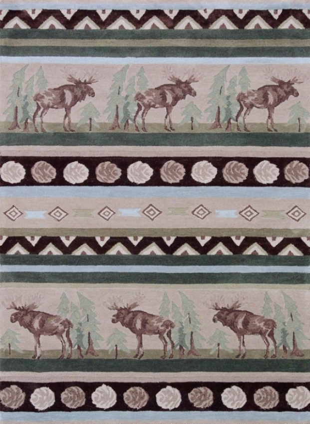 1'10&quot X 2'10&quot Give  Tufted Area Rug Elk Pattern In Beige And Green
