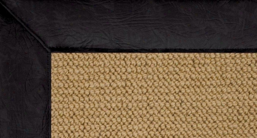 1'10&quot X 2'10&quot Sisal Wool Rug - Athena Hand Tufted Rug With B1ack Leather Border