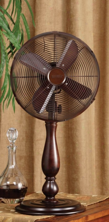 12&quot Sutter Brown Finsih Deco Table Outgo Fan