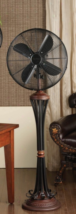 16&quot Venezia Black/bronze Finish Deco Floor Standing Fan