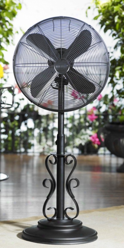 18&quot Ebony Metal Deco Adjustable Outdoor Standing Floor Fan