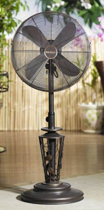 18&quot Vines Metal Deco Adjustable Outdoor Standing Floor Fan