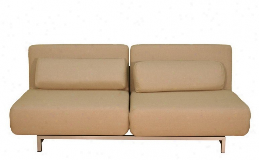 2 Seat Sofa Chair Bed Convertible Set - Cream Fabric