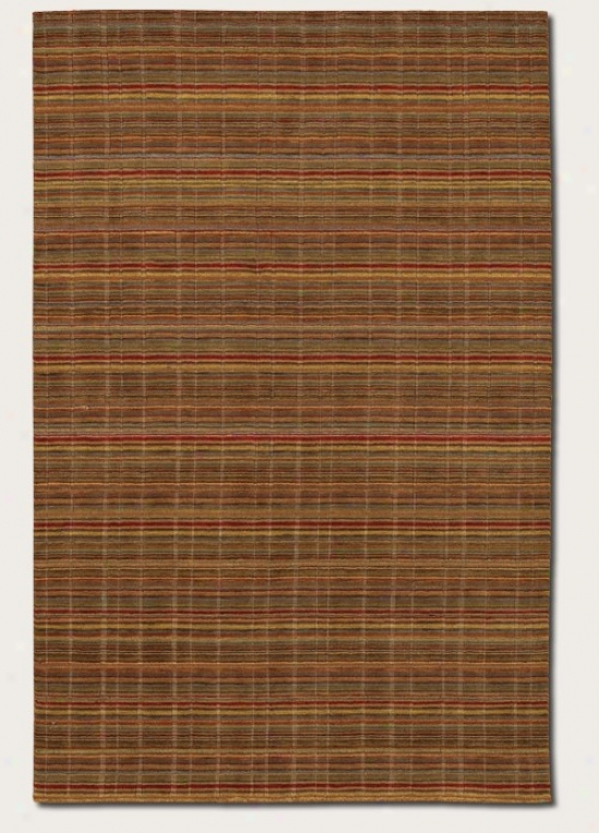 2' X 3' Area Rug Striped Pattern In Mocha And Red