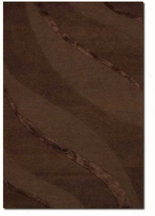 2' X 3' Contemporary Ribbons Carve Textured Cut Brown Area Rug