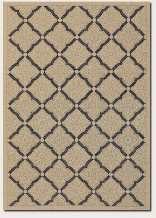 2' X 3'7&quot Area Rug Floral Grid PatternI n Cream Anr Black