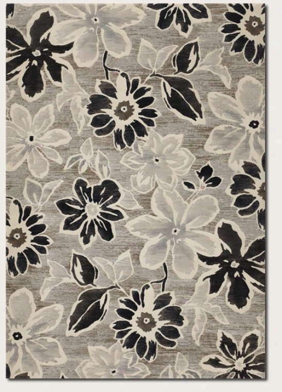 2' X 3'7&quot Area Rug Large Fporal Pattern In Grey And Dark