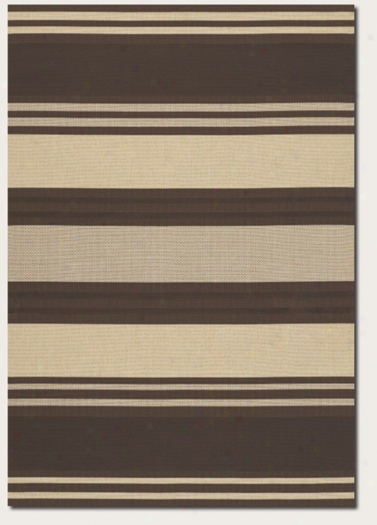2' X 3'7&quot Area Rug Thick Stripe Pattern In Chocolate And Cream
