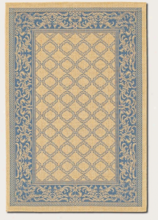2' X 3'7&quot Area Rug Transituinal Style With Blue Border In Natural