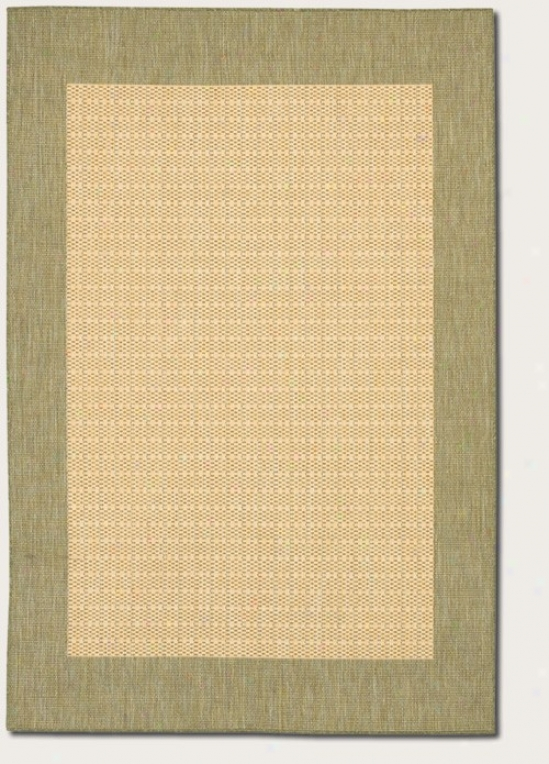 2' X 3'7&quot Area Rug With Green Border In Naturak Color