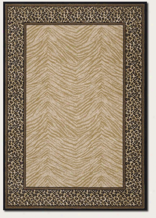 2' X 3'7&quot Area Rug Zebra And Leopard Print In Ivory And Beige
