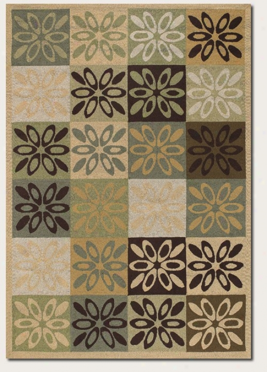 2' X 4' Area Rug Geometric Floral Pattern In Sage And Brown