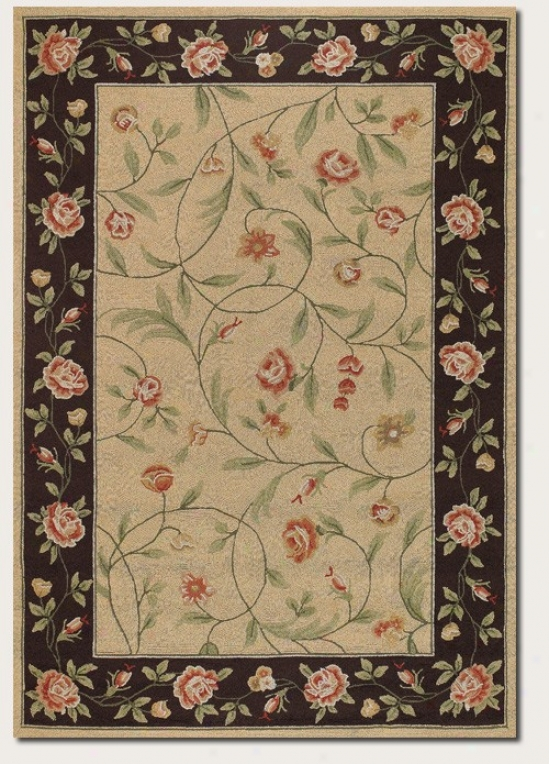 2' X 4' Area Rug Stab Rose Pattern In Ivory And Black