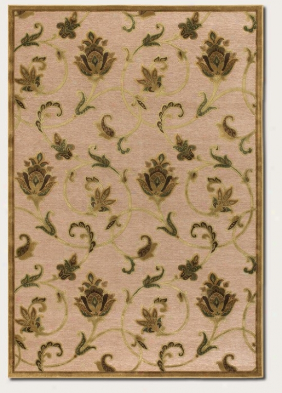 2'2&quot X 4'2&quot Area Rug Floral Pattern In Ivory And Antique Gold