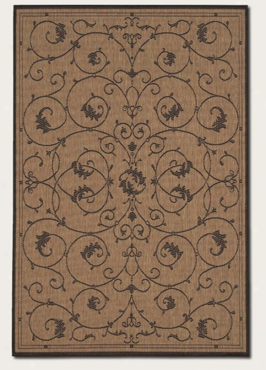 2'3&quot X 11'9&quot Runner Area Rug Scroll Floral Design In Cocoa