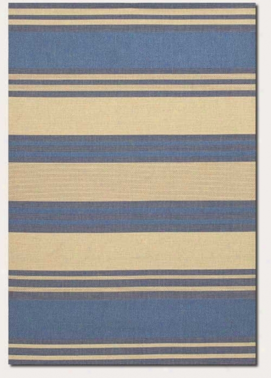 2'3&quot X 11'9&quot Runner Area Rug Thick Stripe Pattern In Blue And Cream