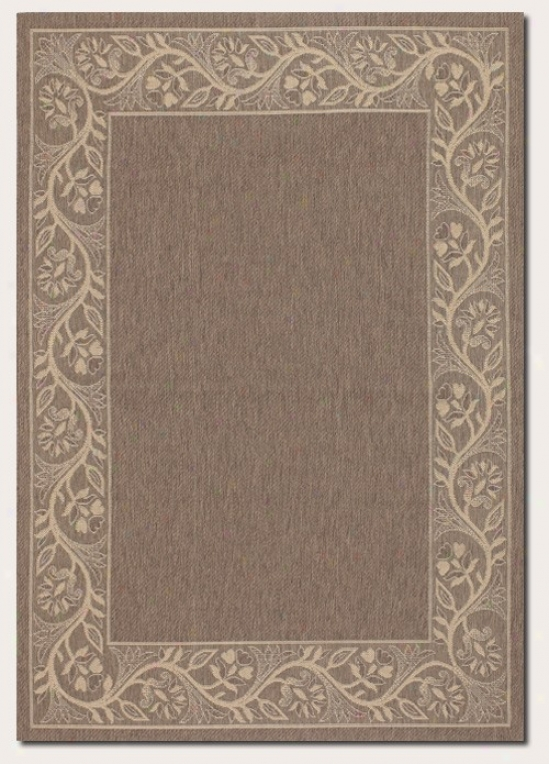 2'3&quot X 11'9&quot Runner Area Rug With Floral Border In Brown And Cream