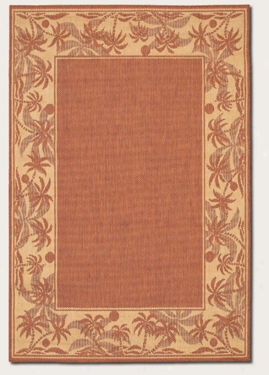 2'3&quot X 11'9&quot Runner Area Rug With Palm Tree Design Border In Terra-cotta